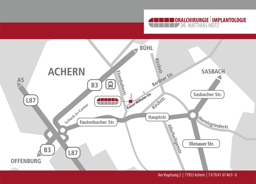 Anfahrt zur Praxis für Oralchirurgie & Implantologie in Achern – Dr Heitz & Dr Mikhail
